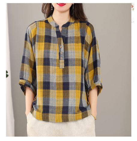 Plaid V-neck Elbow Sleeve Tunic Tops