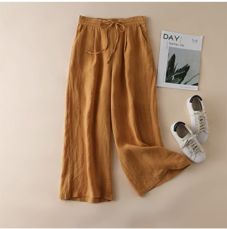 Linen Wide Leg Long Pants With Rope