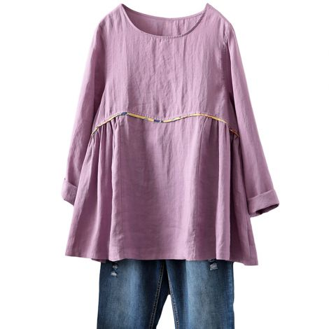 Women's Linen Shirts Casual Loose Fit Tunic Top Long Sleeve Comfy Blouse