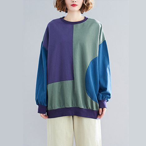 Women's Cotton Color Block Tunic Long Sleeve Pullover Shirt Casual Round Collar Tops