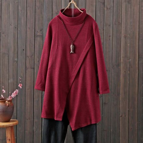 Women's Long Sleeves Dress Cowl Neck Pullovers Irregular Hem Sweater Dress with Pockets