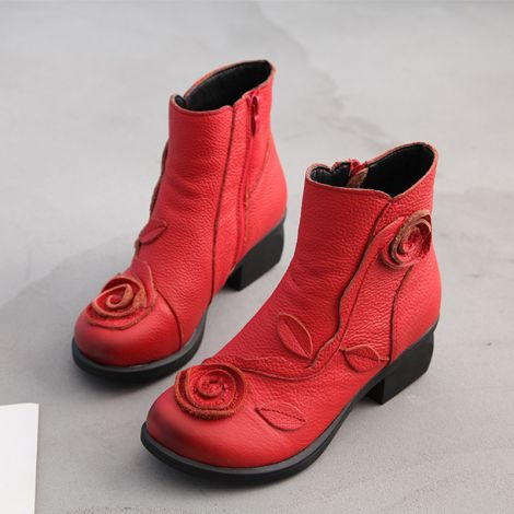 Handmade Rose Boots Vintage Floral Chunky Oxford Boots