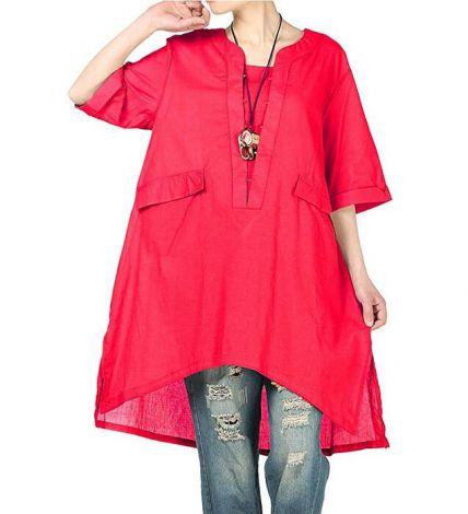 Side Slit Shirt Hi-low Blouse with Pockets